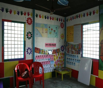 Inside the School for children at the campsite