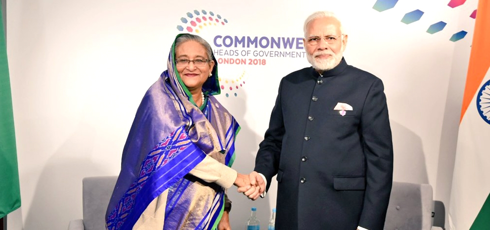 Prime Minister Shri Narendra Modi and Prime Minister of Bangladesh Mrs. Sheikh Hasina had a productive exchange of views on various issues of bilateral interest on the sidelines of CHOGM18.