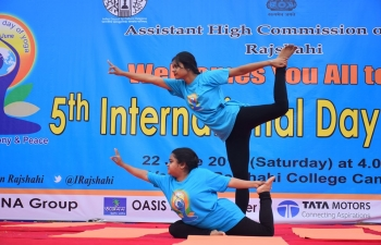 Celebration of the 5th International Day of Yoga in Rajshahi on June 22, 2019